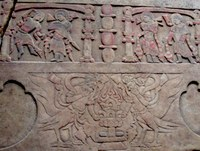 Detail of a painted relief from a 6th-century Chinese funerary platform depicting musicians and fantastic human-animal hybrid creatures.