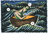 Painting of a man in a small boat in open water with waves.