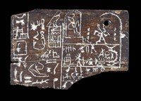 Fragmentary, rectangular, wooden label with images of the king and rows and columns of hieroglyphic texts.