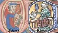 Illuminated manuscript images of two men reading from books.