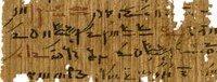 Fragmentary ancient Egyptian text written in the cursive demotic script in red and blank ink on papyrus.
