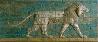 Reconstructed panel of bricks with a striding lion Neo-Babylonian Period; Processional Way, El-Kasr Mound, Babylon, Iraq; CC0 1.0 Image courtesy of The Metropolitan Museum of Art