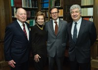 photograph of Norman L. Peck, Shelby White, Roger S. Bagnall, and Piotr Michalowski in the Oak Library