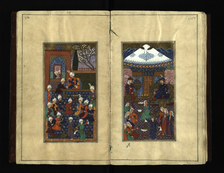 Collected Poems of Khaqani (Kuliyat-i Khaqani) Folios 215 verso, 216 recto: Court scenes Author: Khaqani Shirvani (c. 1127–c.1199) Copyist: Unknown Language: Persian Ink, opaque watercolor, and gold on paper Page: H. 28.1 cm; W. 17.2 cm India, 1603 National Library of Israel, Ms. Yah. Ar. 1015 Image (c) The National Library of Israel