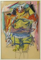 "Willem de Kooning, ""Woman""Oil on Paper BoardH. 90.8 cm; W. 61.9 cm1953-54Gift of Mr. and Mrs. Alastair B. Martin, the Guennol CollectionTBM: 57. 124"