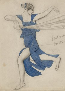 image of a watercolor and graphite sketch showing a blue costume design on a female figure