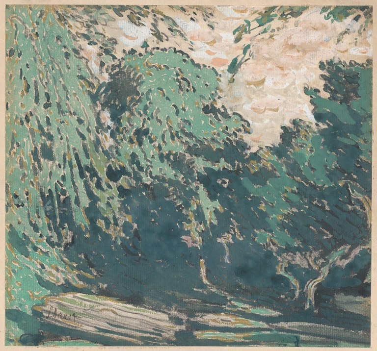 Painting of tall, coniferous trees in green shades being swept away by a strong gust of wind.