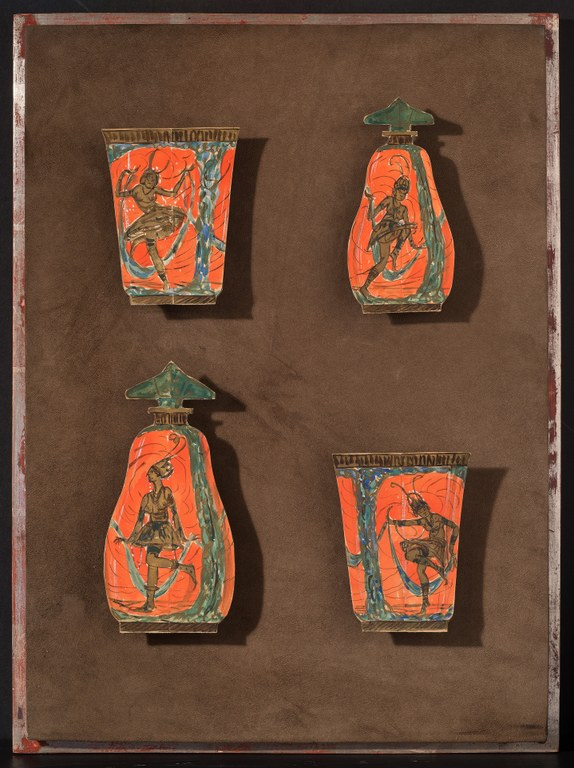 Cutouts of four paintings of vessels: two cups and two perfume bottles, each with dancing figures painted in black on red.