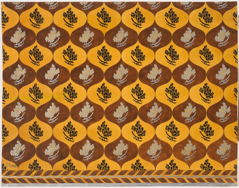 Painting for fabric design in yellow, brown, and dark brown depicting bunches of grapes in a teardrop-shaped pattern in alternating colors.