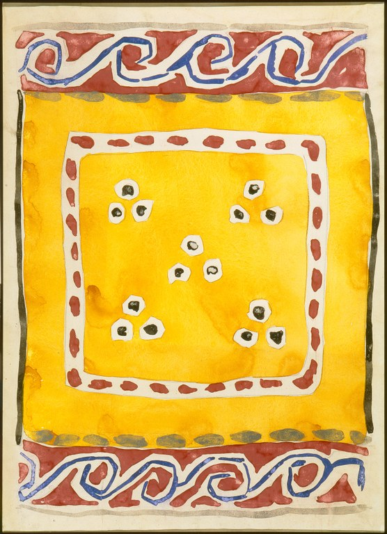 Painting for a fabric design on a yellow ground with red and blue swirl borders at top and bottom. In the center of the work, a white square with red dots frames a pattern of 15 blue dots arranged symmetrically in five groups of three.
