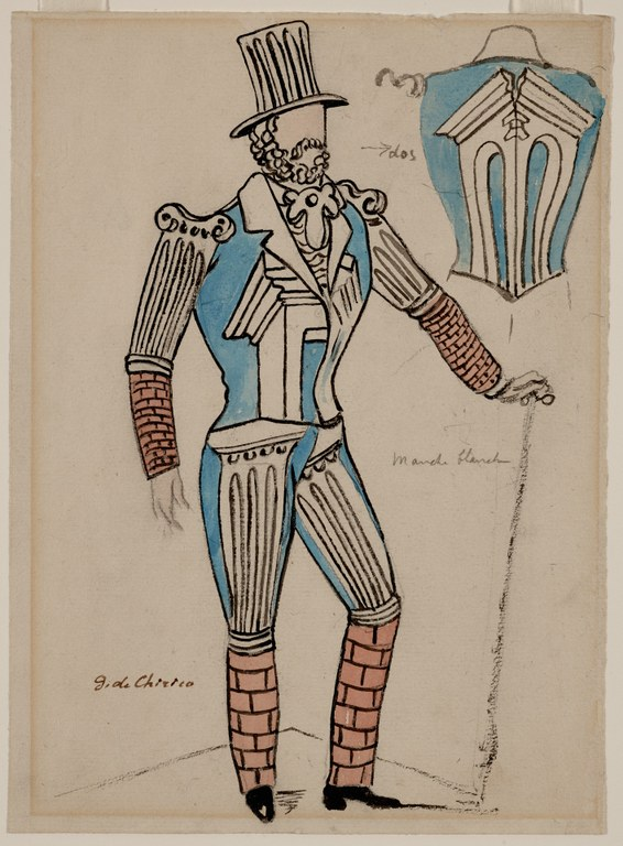 Painting of a faceless man with a top hat and cane wearing a tight-fitting uniform decorated with images of a broken column and other architectural elements, as well as a brick-style pattern below elbows and knees.