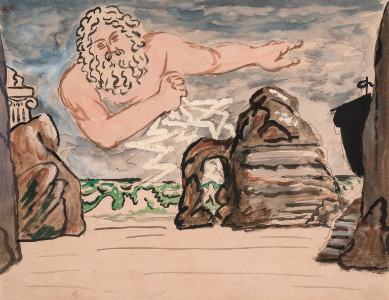 Painting of the sea shore. There is a ship to the far right and a giant, bearded male figure at center in the sky, gesturing to the side with one arm and throwing jagged white thunderbolts down at the sea with the other.