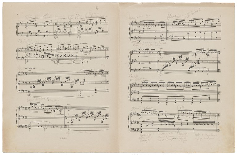 Page spread from a printed musical composition with handwritten notes in Russian.