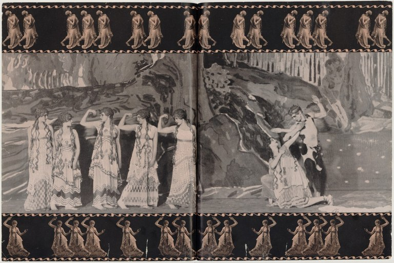 Page spread from a ballet program showing a stage scene of with a group of female dancers in long, flowing dresses attracting the attention of Vaslav Nijinsky as the Faun. Border at top and bottom show a row of dancers in a repeating pattern of poses.