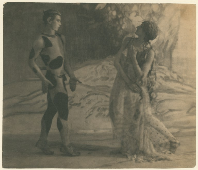 Photograph in a painterly style depicting a man wearing an animal print leotard, strutting towards a woman in a long, flowing dress.