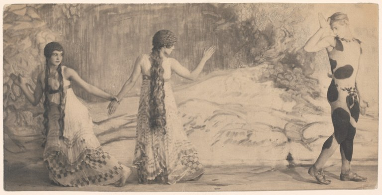 Photograph in a painterly style depicting two women wearing long, sleeveless dresses and a man wearing an animal print leotard. The man bids goodbye to one woman whose back is to the camera while the other woman drags her away by the arm.