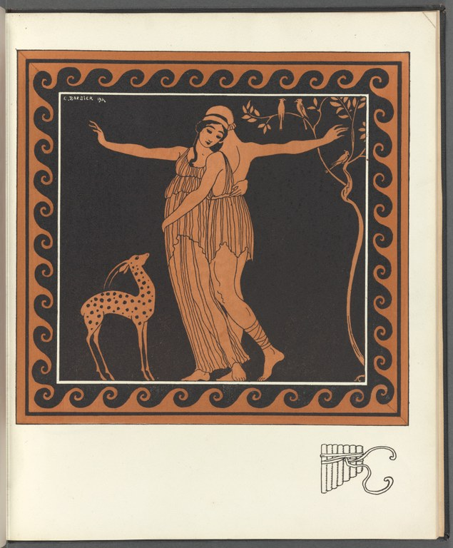 Orange and black illustration from a book of poems. Print depicts a man and a woman dancing with a small fawn and a few birds in a tree nearby. Style recalls black figure painted pottery.