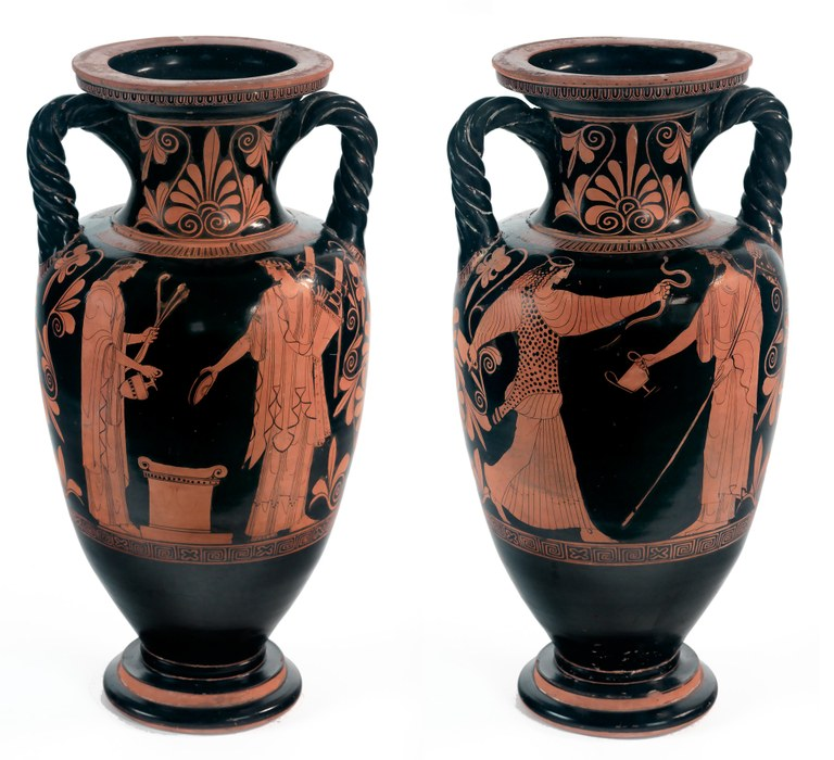 Two views (front and back) of a tapered red-and black vase. One view depicts a robed male figure with a lyre and an offering bowl facing a robed female figure with a bow and arrows and a flask. An altar is between them. The other view shows a bearded male figure with a long staff and a wine jar facing a female figure with a leopard-print outer garment. She holds up a snake toward the male.
