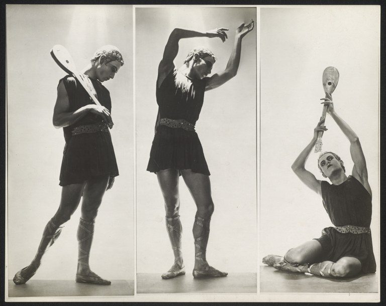 Photograph of three poses of the same man. He wears a short, sleeveless tunic that is belted at the waist and that leaves his knees bare. In two of the photographs, he poses with a lute as prop.