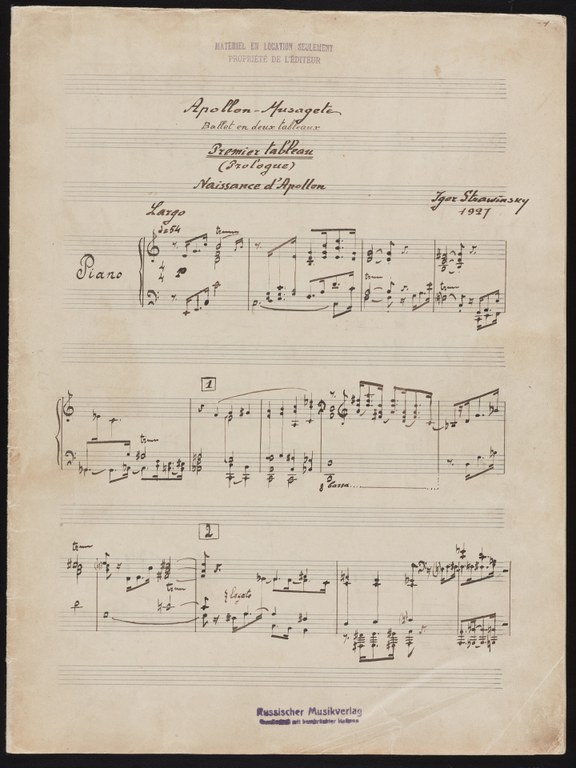 Handwritten musical score on paper with printed musical staff. At the top is written: Apollon - Musagete: Ballet in deux tableaux. Premier Tableaux (Prologue). Naissance d'Apollon. Igor Stravinsky, 1927.
