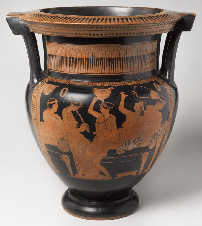 Vessel with two handles at the side, in black with red painted figures, depicting a scene at a banquet with three reclining men and two women entertaining (one plays the flute and other has a vessel above her head in a dancerly pose). A lyre and other objects hang on the wall.