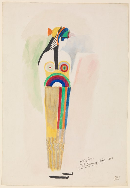 Painting of a brightly colored, slightly abstracted costume of a woman facing forward, with her head turned to the right. She wears an elaborate vulture headdress and a geometric dress.