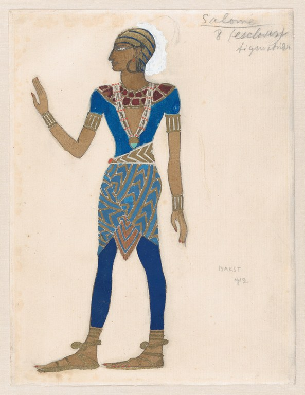 Painting of a figure inspired by ancient Egyptian art, facing left with left arm raised at elbow, wearing a costume of blues, golds, and deep reds.
