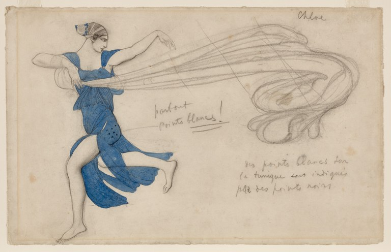 Painting of a woman in a blue dress dancing. A graphite sketch of a large, billowing scarf trails behind her. The image is annotated with pencil in French.