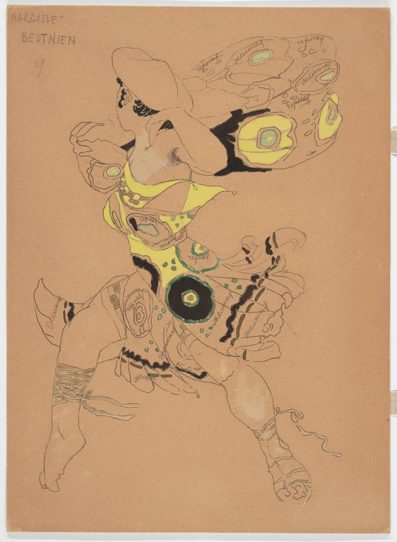 Incomplete painting on brown paper with black and yellow paint for a man in a flat, wide hat and a flowing, sleeveless garment that reaches his knees. A pencil annotation reads: NARCISSE: BEUTHIEN.