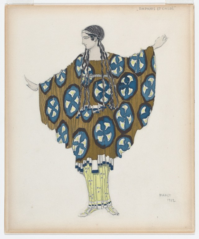 Painting of a woman with her arms raised to the sides so that a wide, circular shawl decorated with a blue, green, white, and black graphic pattern drapes from her arms like wings. Her dark hair is tied with a ribbon and fashioned into narrow parallel braids that fall down her chest to her waist.