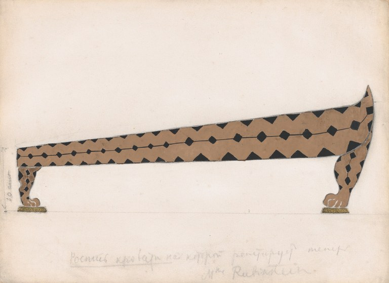 Painting of a long and geometric daybed with claw feet and a brown and black triangle pattern.  French annotations and a height measurement appear in now-smudged pencil.