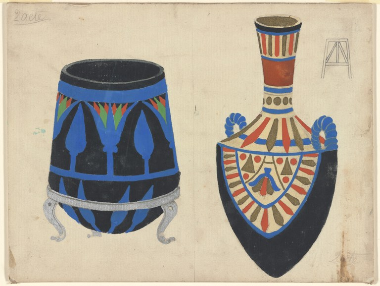 Painting of a brazier on a three-legged stand and a vessel with a long neck, pointed foot, and two handles at the shoulder. Both are brightly decorated with a graphic pattern in blue, red, green, and black. Annotations appear in pencil.