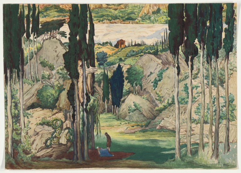 Painting of tall trees situated along the banks of a river, surrounding a small man and woman. A small structure with a peaked roof like a Greek temple appears in the center distance.
