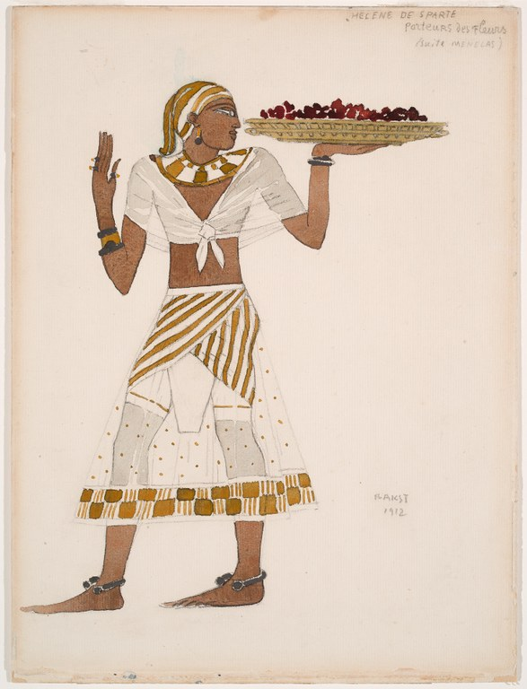 Painting of a female figure with arms bent at elbows, holding a wide basket containing red flower petals at shoulder height. Figure wears a costume, inspired by Egyptian clothing styles, consisting of a white and gold skirt and a white shawl tied at the breastbone, as well as a broad, separate collar with red, yellow, and white decoration. Annotations appear in pencil.