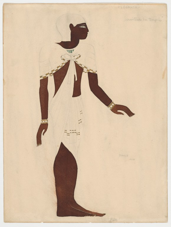 Unfinished painting of a figure facing sideways wearing a costume, inspired by Egyptian clothing, that consists of a wrap-around skirt, a shawl tied at the chest, and a close-fitting cap covering the entire hairline and back of the neck.  The body of the figure has been painted, but the clothing is only outlined in pencil with some gold highlights added. Annotations appear in pencil.