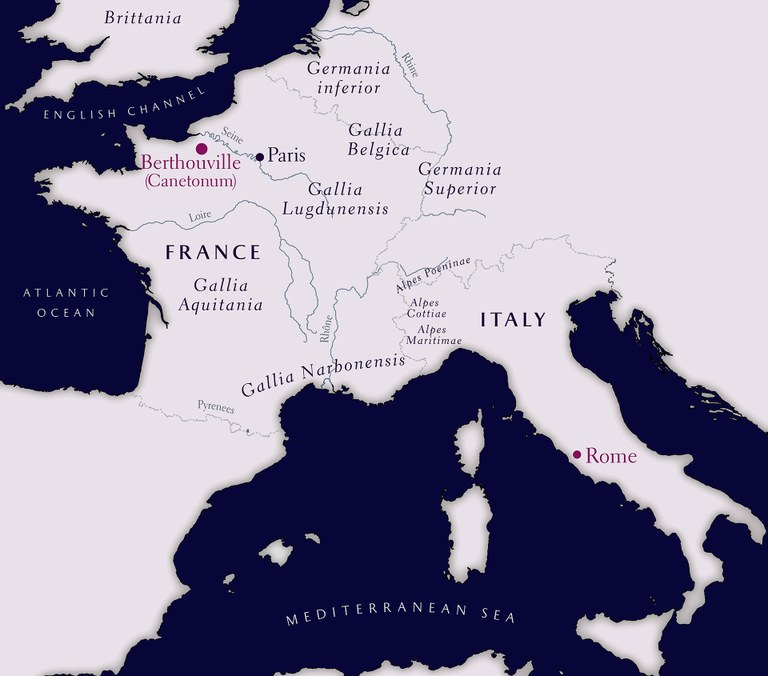 map of section of Europe showing distance between Berthouville and Rome
