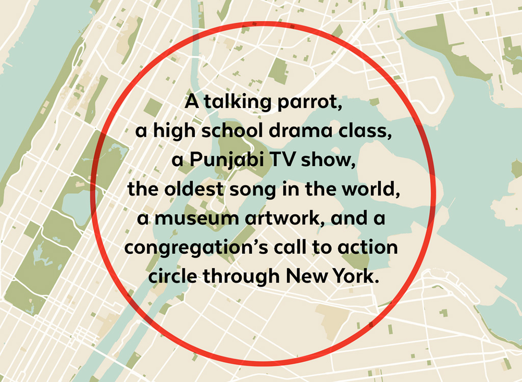 A red circle superimposed on a map of New York City. The exhibition's description (found elsewhere on this page) is written within the circle in large, black letters.