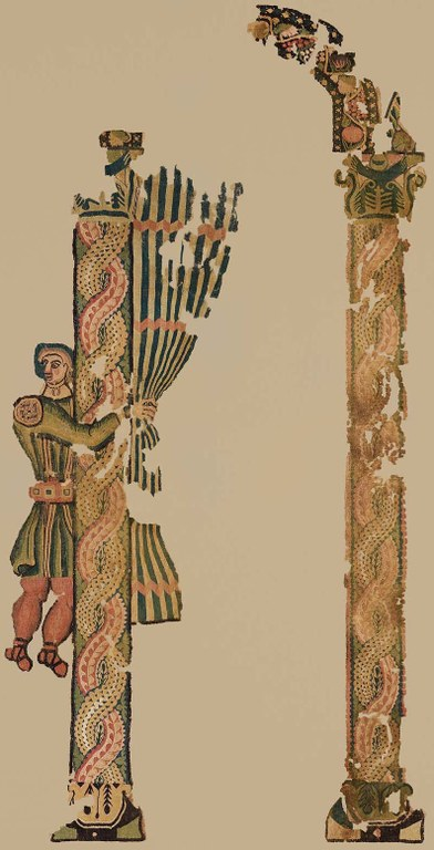 "Tapestry weave of dyed wools and undyed linen, H. 188 cm; W. 93.5 cm. Possibly Egypt, 5th century CE. Museum of Fine Arts, Boston, Charles Potter Kling Fund, 57.180. This wall hanging presents a servant, the doorkeeper, pulling aside a striped curtain in an arcade. He is notably well dressed: his tunic is apparently of green-gold ""shot"" silk, and he wears a gold neckpiece. This type of imagery found on wall hangings commented upon the prestige and status of the household."