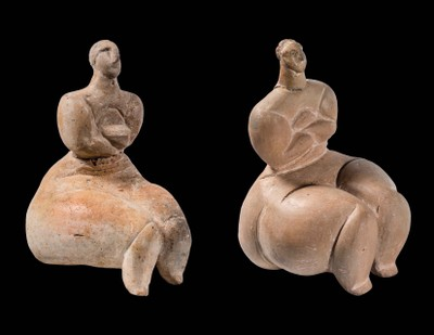 Two Seated Figures with Crossed Arms