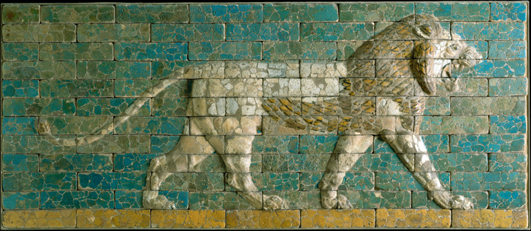 panel of bricks with blue-green and beige colored glazes, and relief depicting a lion in profile striding to the right