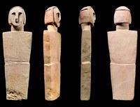 """Shaman's Cache Schematic Figure,"" Wearing a Plain HeadbandGlobigerina Limestone. H. 17.2, W. 5.4, D. 1.8 cmXagħra Circle (Gozo), 3600–2500 BCEHeritage Malta–Gozo Museum of Archaeology: 32191 Courtesy of Heritage Malta, photography © Daniel Cilia"