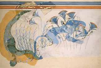 Watercolor restoration of a wall fresco depicting a blue monkey and papyrus blossoms in a riverine setting.