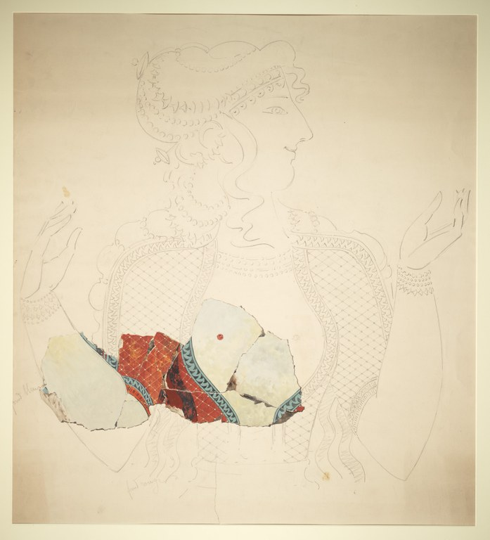 Pencil outline of a woman, with a few fragments in bright red watercolor