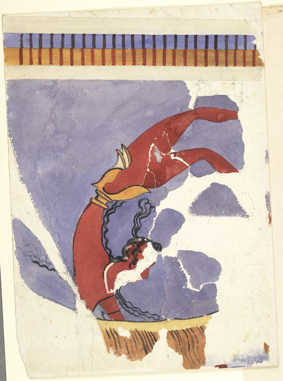 Closeup watercolor painting of fragments of an acrobat standing over a bull with a light faded purple background