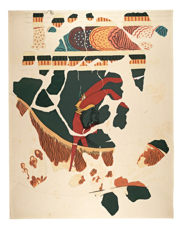 Watercolor painting of fragments of an acrobat jumping over a bull on a green background