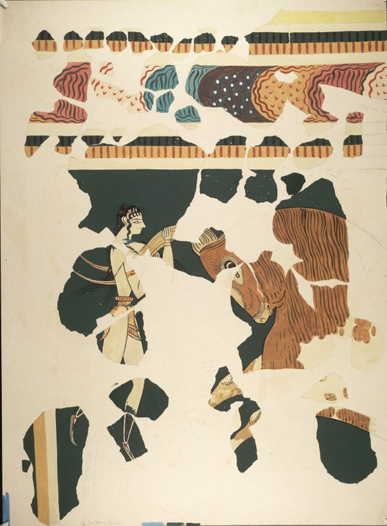 Fragments of a watercolor painting of a figure grasping a bull's horns