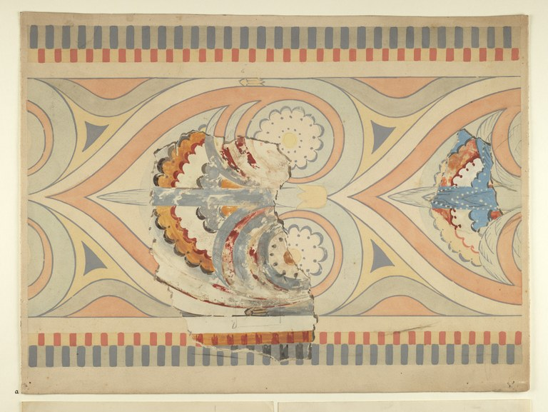 Watercolor fragment within a reconstructed painting showing a graphic design from a wall decoration in pinks, blues, whites and yellows