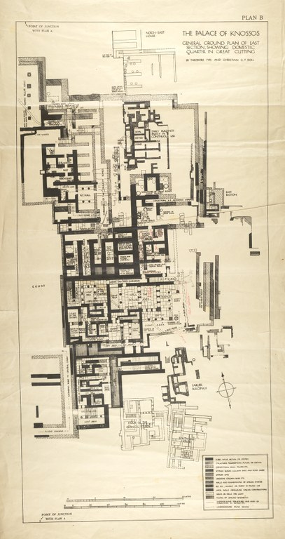 General Plan of the Palace of Knossos Showing the Domestic Quarter in the Great Cutting