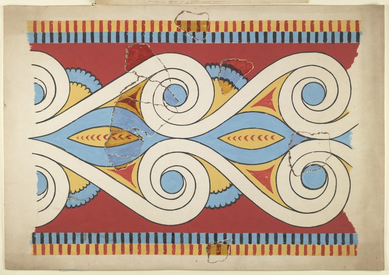 Watercolor fragment within a reconstructed painting showing a graphic design from a wall decoration in reds, blues, whites and yellows