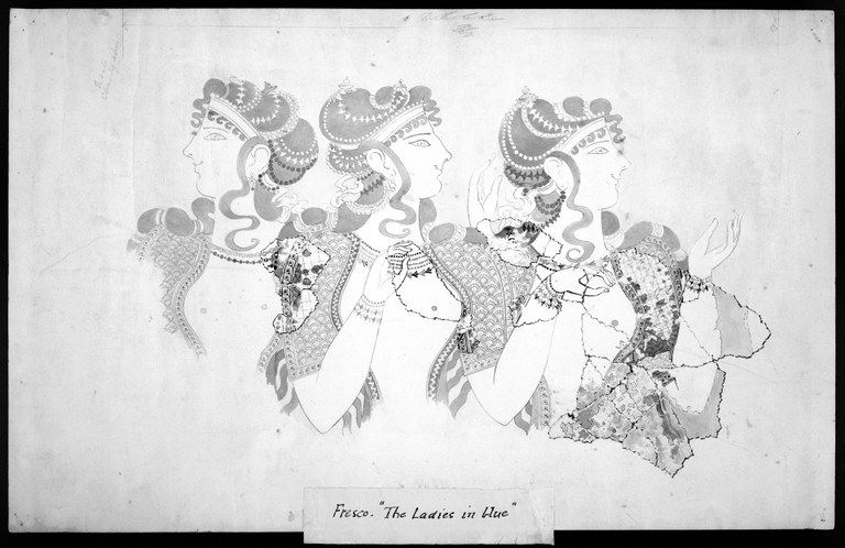 Ink and pencil with ink wash on paper of three women dressed lavishly, wearing head jewellery, shown from above the waist